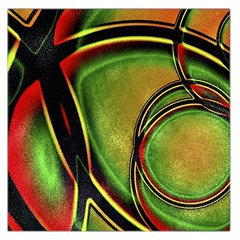 Multicolored Abstract Print Large Satin Scarf (Square)