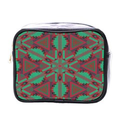 Green Tribal Star Mini Toiletries Bag (one Side)