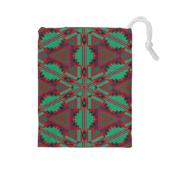 Green tribal star Drawstring Pouch