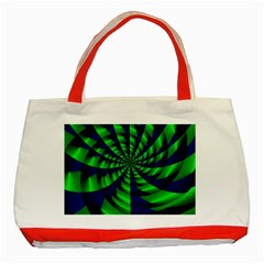 Green blue spiral Classic Tote Bag (Red)