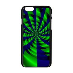 Green blue spiral Apple iPhone 6 Black Enamel Case