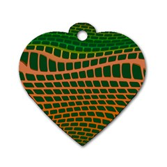 Distorted Rectangles Dog Tag Heart (one Side)
