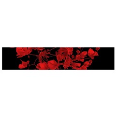 Dark Red Floral Print Flano Scarf (small)