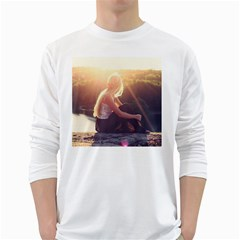 Boho Blonde Men s Long Sleeve T-shirt (White)