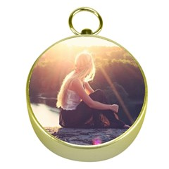 Boho Blonde Gold Compass
