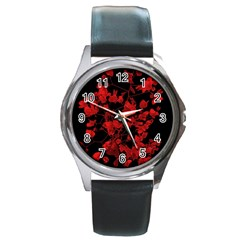 Dark Red Flower Round Leather Watch (silver Rim)