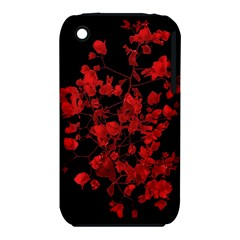 Dark Red Flower Apple Iphone 3g/3gs Hardshell Case (pc+silicone)