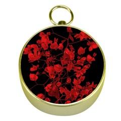 Dark Red Flower Gold Compass