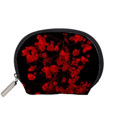 Dark Red Flower Accessory Pouch (small)