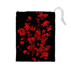 Dark Red Flower Drawstring Pouch (large)