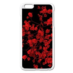 Dark Red Flower Apple iPhone 6 Plus Enamel White Case