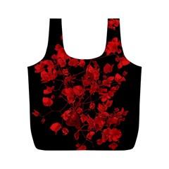 Dark Red Flower Reusable Bag (M)