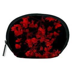 Dark Red Flower Accessory Pouch (Medium)