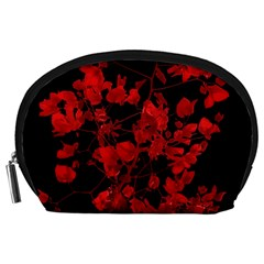 Dark Red Flower Accessory Pouch (Large)