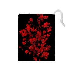 Dark Red Flower Drawstring Pouch (medium)