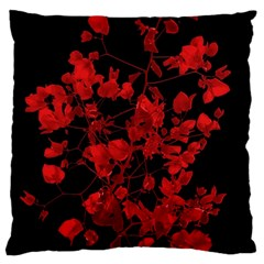 Dark Red Flower Large Flano Cushion Case (one Side)