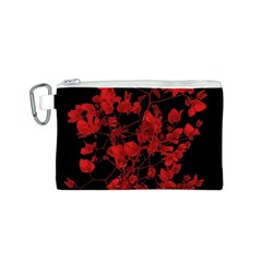 Dark Red Flower Canvas Cosmetic Bag (small)