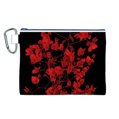 Dark Red Flower Canvas Cosmetic Bag (Large)