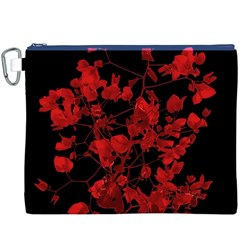 Dark Red Flower Canvas Cosmetic Bag (XXXL)