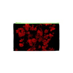 Dark Red Flower Cosmetic Bag (xs)