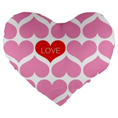 One Love Large 19  Premium Flano Heart Shape Cushion