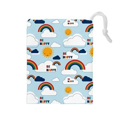 Be Happy Repeat Drawstring Pouch (Large)