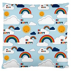 Be Happy Repeat Large Flano Cushion Case (Two Sides)