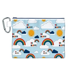 Be Happy Repeat Canvas Cosmetic Bag (Large)