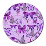 Purple Awareness Butterflies 8  Mouse Pad (Round) Front