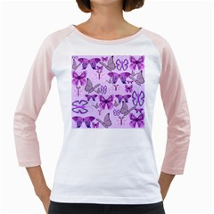 Purple Awareness Butterflies Women s Long Cap Sleeve T-Shirt (White)