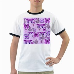 Purple Awareness Butterflies Men s Ringer T Shirt