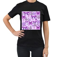 Purple Awareness Butterflies Women s Two Sided T Shirt (black)