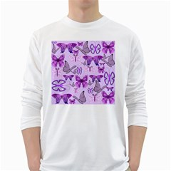 Purple Awareness Butterflies Men s Long Sleeve T-shirt (White)