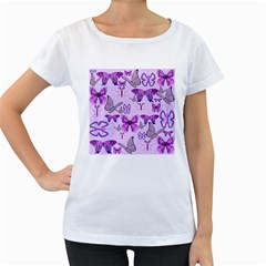 Purple Awareness Butterflies Women s Loose-Fit T-Shirt (White)