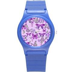 Purple Awareness Butterflies Plastic Sport Watch (small)