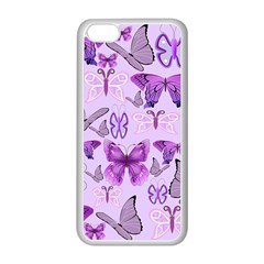 Purple Awareness Butterflies Apple iPhone 5C Seamless Case (White)