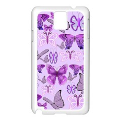 Purple Awareness Butterflies Samsung Galaxy Note 3 N9005 Case (white)