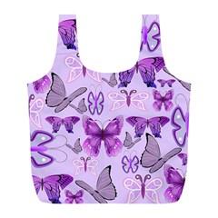 Purple Awareness Butterflies Reusable Bag (L)