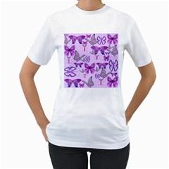 Purple Awareness Butterflies Women s T-Shirt (White)