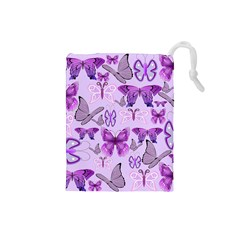 Purple Awareness Butterflies Drawstring Pouch (small)