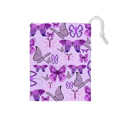 Purple Awareness Butterflies Drawstring Pouch (Medium)