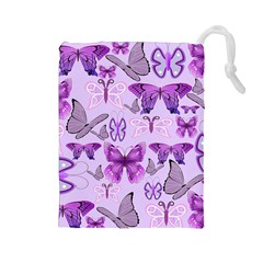 Purple Awareness Butterflies Drawstring Pouch (Large)
