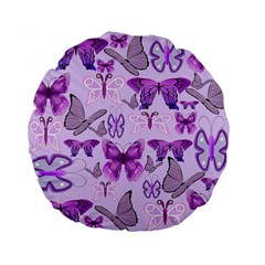 Purple Awareness Butterflies Standard 15  Premium Flano Round Cushion