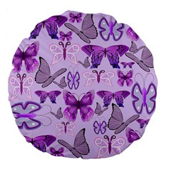 Purple Awareness Butterflies Large 18  Premium Flano Round Cushion
