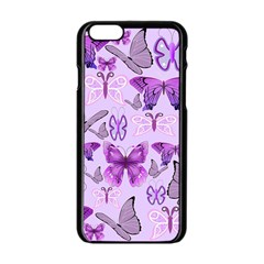 Purple Awareness Butterflies Apple iPhone 6 Black Enamel Case