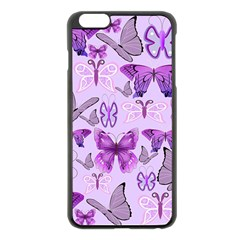 Purple Awareness Butterflies Apple iPhone 6 Plus Black Enamel Case