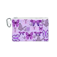 Purple Awareness Butterflies Canvas Cosmetic Bag (Small)