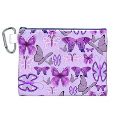 Purple Awareness Butterflies Canvas Cosmetic Bag (XL)