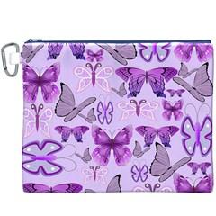 Purple Awareness Butterflies Canvas Cosmetic Bag (XXXL)