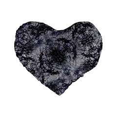 Nature Collage Print  Standard 16  Premium Flano Heart Shape Cushion